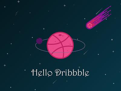Holle Dribbble thanks illustration hello design invite dribbble