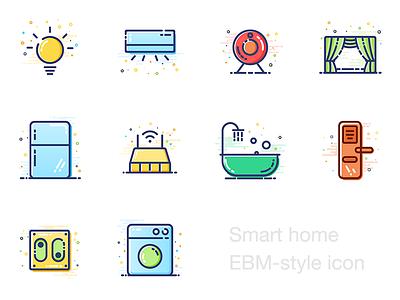 MBE-style icon washing machine switch bathtub router fridge curtain camera light style lock icon ui