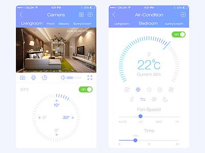 Smart Home App02 air-condition camera ux smart home design mbe iphone app mobile gui ui