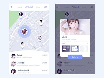 Day 001 - Location Check In ux ,around ,design ,ui100days location design iphone app mobile gui ui