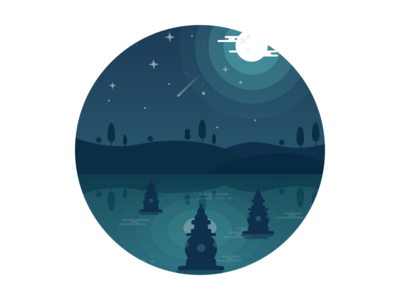 Three Pools Mirroring The Moon