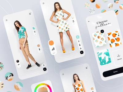 Fashion look customiser fashion 360 shoes pants tshirt dress customer custom look illustrations pattern illustration cards application ux ui mobile ios app design