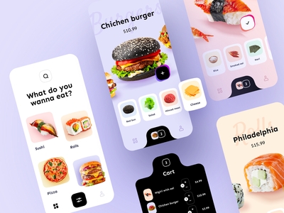 Online Food Delivery App jz online category cart burger pizza rolls sushi ingredient application ux ui mobile ios app design delivery food