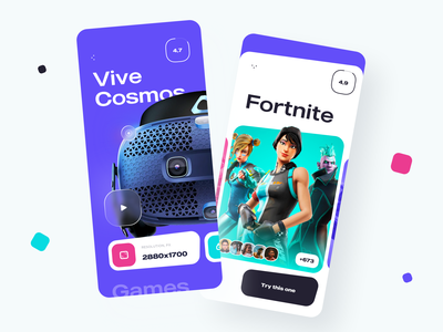 Mobile App VR mobile design iconography cards rate fortnite glasses virtual reality vr modern application ux ui ios design app mobile app mobile