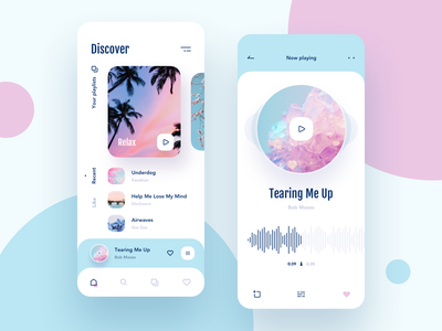 Music app UI case ios search like graphic disk cards icons design ux  ui uxdesign music player music app playlist player pink blue mobile case app music