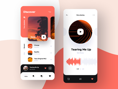 Music app UI case 2 pantone case cards playlist music app ui player uxdesign ux ui search music music app banking bank app bank application mobile ios design app