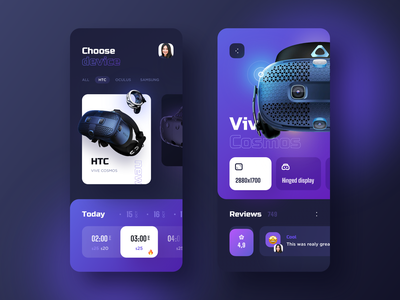 VR App Shot ui  ux cosmos oculus htc emoji icons ux vr virtual reality vector ui illustration application mobile ios design app