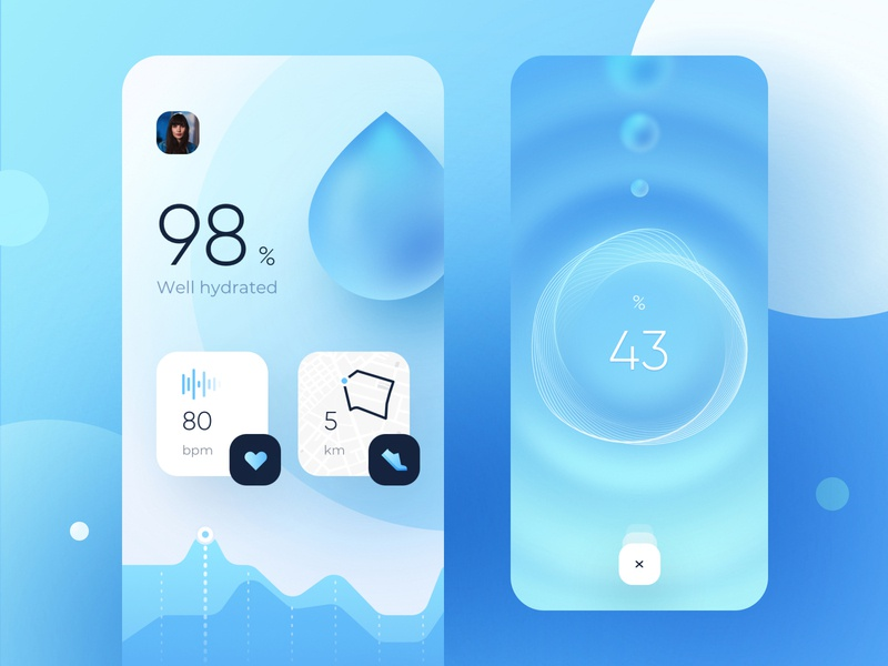 Hydration Tracking App tracking apple app design art interface bar loading wave icons cards application ux ui mobile ios app design hydration hydra water