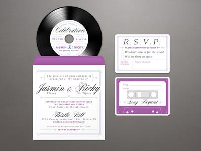 Wedding Invitation blue song request heart rsvp cassette tape cd vinyl ricky purple jasmin