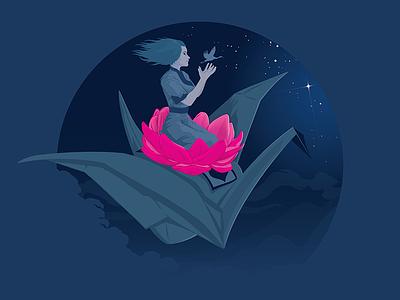 Crane Rider adobe illustrator vector illustration