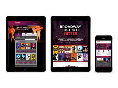 Audience Rewards Website & Digital Marketing Materials broadway web design ui ux