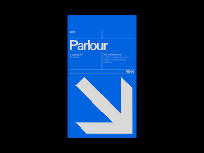 REKKI → PARLOUR, Cover branding grid white space modern web design clean layout minimal typography design