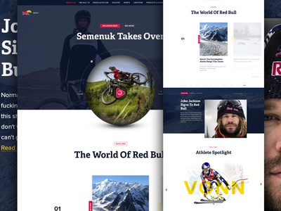 Wiings Pt2 red bull steeze design website web design action sports sports energy drink clean grid modern athlete
