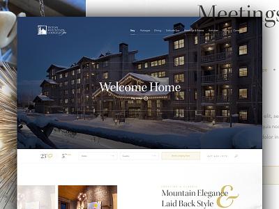 Teton Mtn Lodge white space layout grid travel lodge hotel snowboarding web design design snow winter mountain