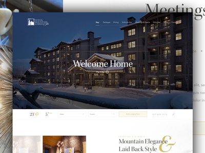 Teton Mtn Lodge white space layout grid travel lodge hotel snowboarding web design design snow winter mountain