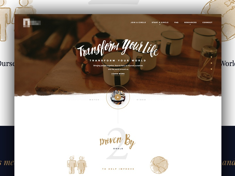BFC landing layout minimal clean white space type illustration coffee style typography web design design