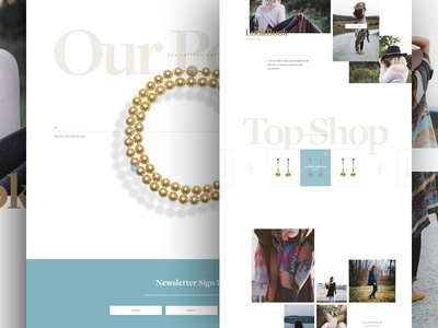 Pearls 2 web design typography store grid shop modern minimal layout jewelry ecommerce design clean