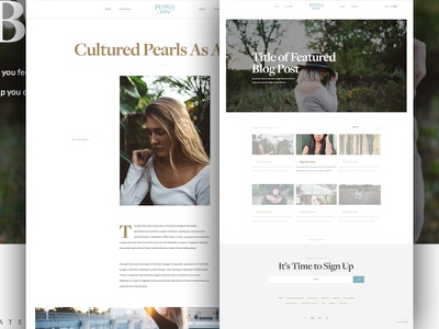 Pearls Blog photos gallery design layout grid type typography modern white space minimal clean blog