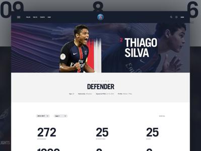 Paris St. Germain - Player Profile nike sports paris soccer ui athlete website nike white space graphic modern web layout grid typography minimal web design clean sports design