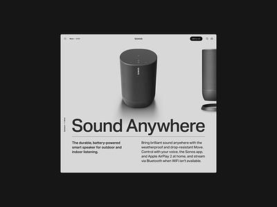 Sonos → Move hero image layout clean minimal render c4d typography speaker sonos ecommerce ui graphic design grid hero web design design