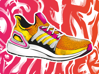 Desert Runner - Adidas Ultra Boost 20 portugal lisbon lisboa uae dubai shoes sneakers ultra boost adidas typography jtitogouveia illustration graphic design j.tito gouveia
