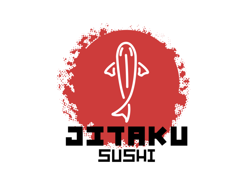Logo Jitaku Sushi salmon tuna koi fish brand sushi japanese food brand and identity vector type logo icon design calligraphy caligrafia branding typography jtitogouveia graphic design illustration j.tito gouveia