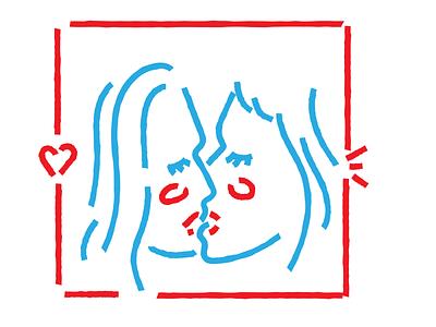 Kisses girl vector design flat design jtitogouveia graphic design illustration j.tito gouveia