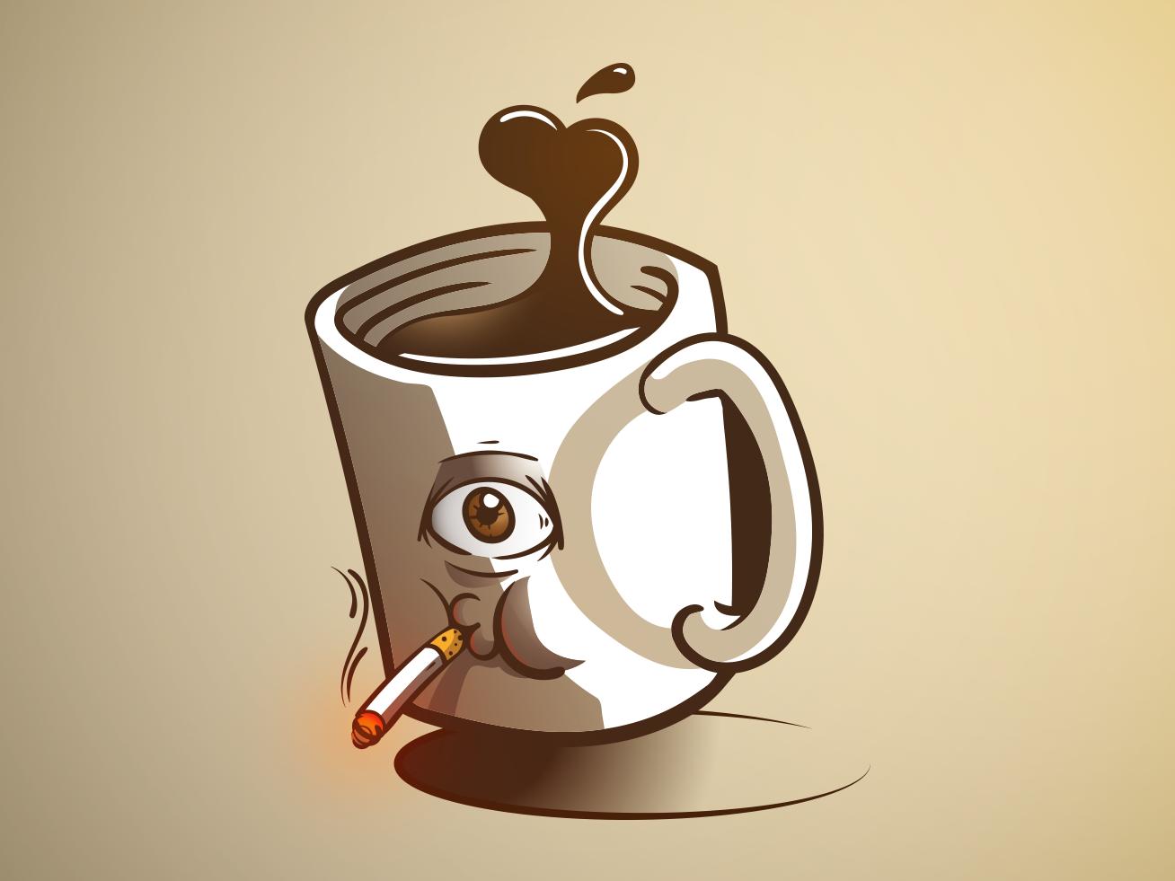 Smoking Mug coffee cup coffee smoking mug icon vector flat design design jtitogouveia graphic design illustration j.tito gouveia