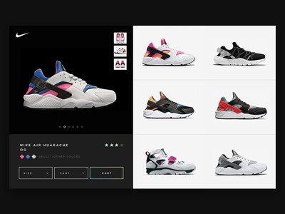 Nike Huarache illustration interface design ui sneakers web nike