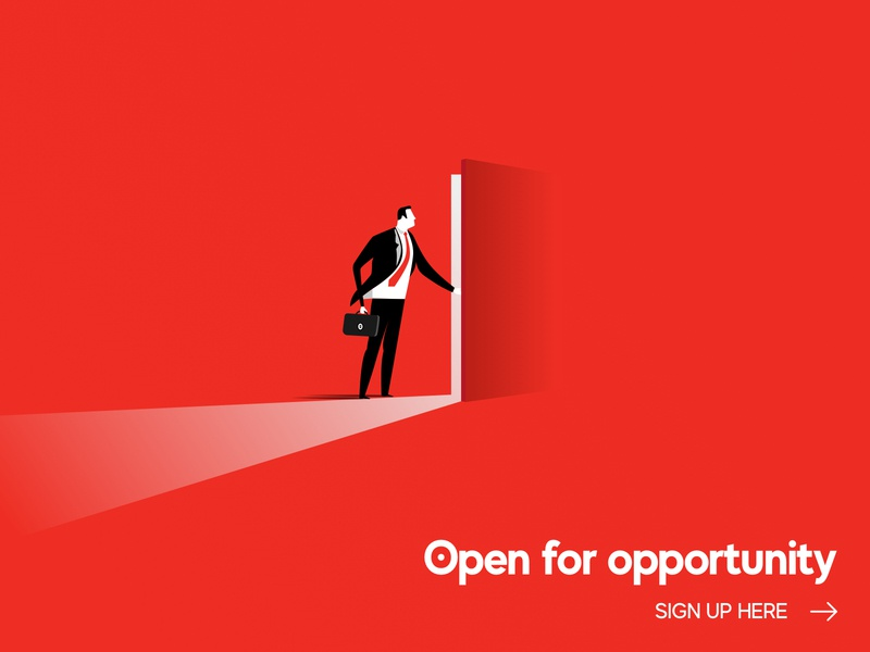 Open For Opportunity red signup screen signup page opportunities opportunity open red and black illistration