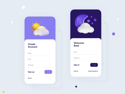 Sign in & Sign up Screen- Weather App weather ux ui warning app hazard form application app design logout screen login screen app logout login sign up sign in