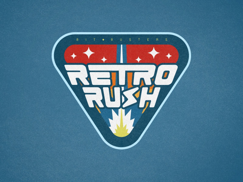 Retro Rush badge logo badge illustration typography branding vector logo design silentiger