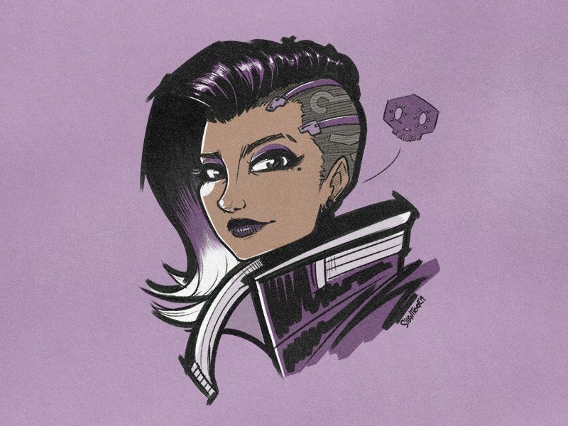 Sombra sombra blizzard overwatch fanart drawing sketch doodle illustration silentiger