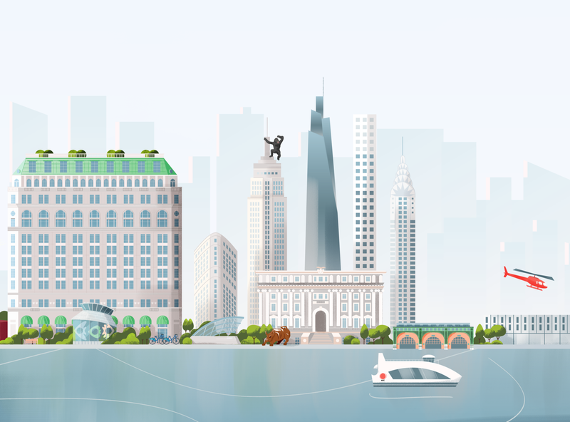 New York skyline vector illustration pastel background wall street river ferry glass chrysler flatiron city buildings skyscraper kingkong architecture urban skyline nyc new york
