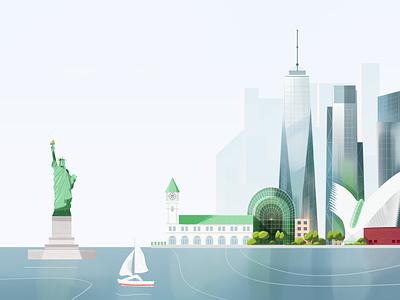 New York skyline pastel green buildings city landscape river usa america statueofliberty skyscraper architecture urban new york nyc texture vector illustration