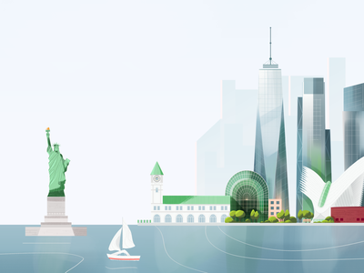 New York skyline pastel green buildings city landscape river usa america statueofliberty skyscraper architecture urban new york nyc texture vector illustration