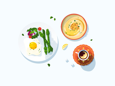 Food Illustration food and drink vector art minimalistic lunch salad food illustration illustration vector fresh eggs coffee hummus food delivery food app breakfast food