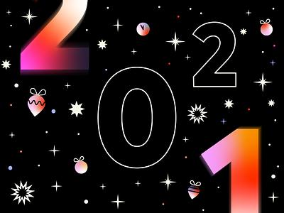 Happy 2021 stars vector festive gradient black sky illustration 2021 newyearseve newyear