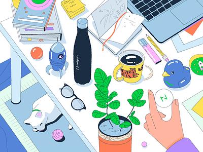 ☕️ Netguru Desk duck code cat rocket sketch process coffee laptop work desk isometric loop gif animation ui colorful vector illustration