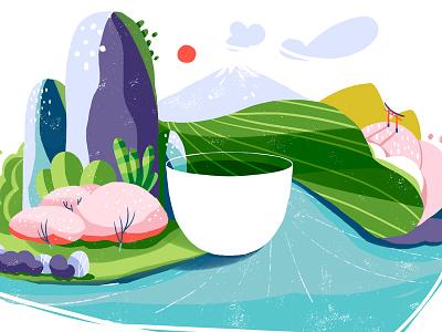 Matcha pink sakura nature colorful photoshop illustration cup teacup green tea matcha japan
