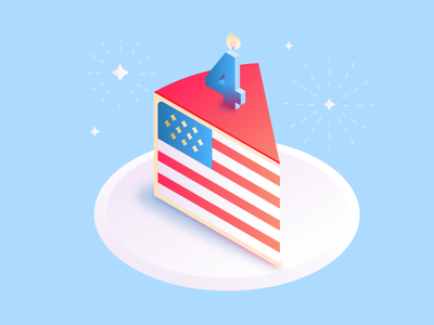 From us to US happy sparkles fireworks vector cake illustration america usa independence 4th july