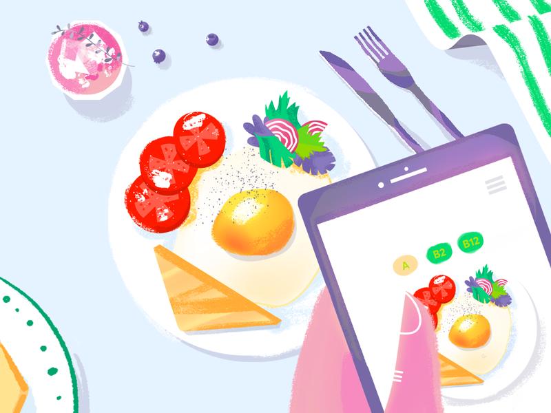 Breakfast Idea app hand illustrator eggs texture illustration colorful food app table breakfast food