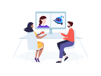Illustration for Voicera vector colorful chat video conferencing video call screen computer desk office people illustration virtual assistant artificial intelligence notes app
