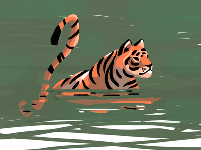 Tiger strokes brush hunter nature cat jungles water reflection sketch procreate tiger animal