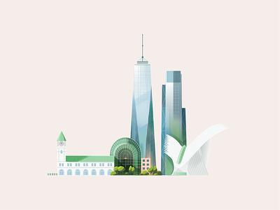 New York usa buildings glass detail vector photoshop skyscraper manhattan new york illustration