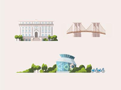 New York america bikes museum city buildings skyline nyc brooklyn bridge landmarks usa new york