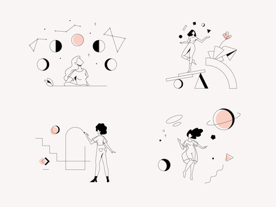 Clio Illustrations juggler product illustration pink minimalistic outlines feminine space planets abstract mindfulness wellbeing women menopause app health illustration