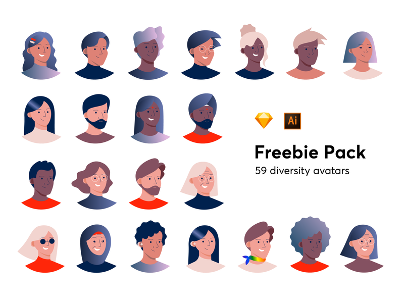 Diversity Avatars ui colorful vector set free head people illustrations sketch diversity design inclusive download pack avatars freebie