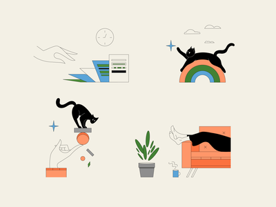 Work-life Balance app tasks life app ui time documents balance relax cat retro black outlines sketch colorful vector illustration