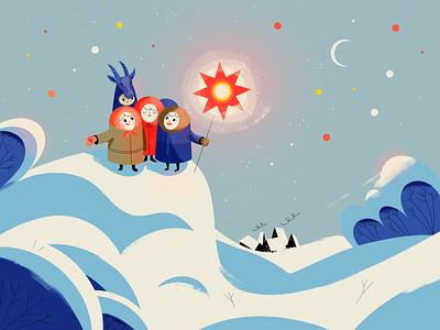 Christmas Carols holidays xmass sky snow houses star vector winter illustration retro carols orthodox christmas